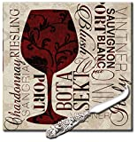 CounterArt 'Divine Wine' 8-Inch Square Glass Cheese Board with Cheese Knife
