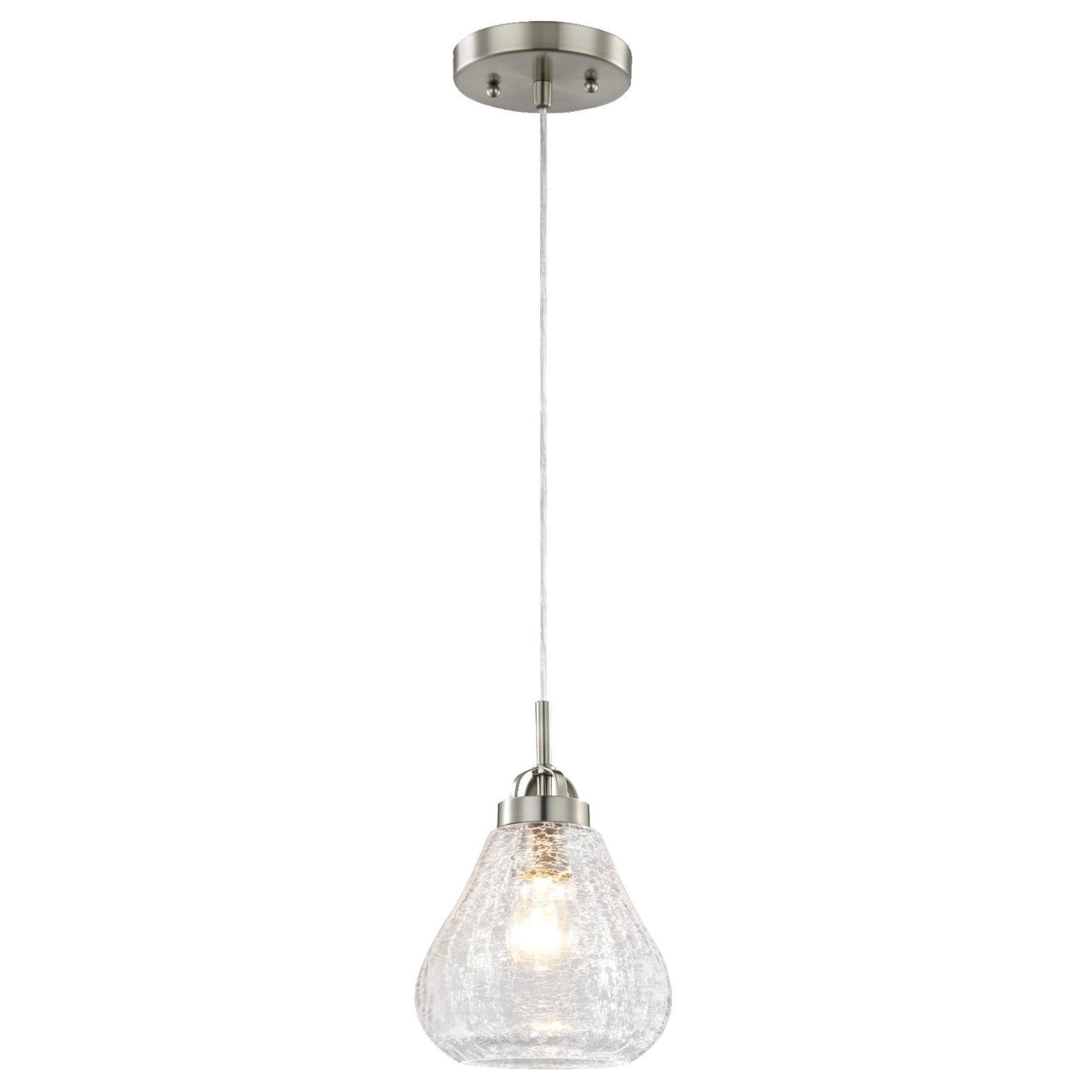 6309100 One-Light Indoor Mini Pendant, Brushed Nickel Finish with Clear Crackle Glass