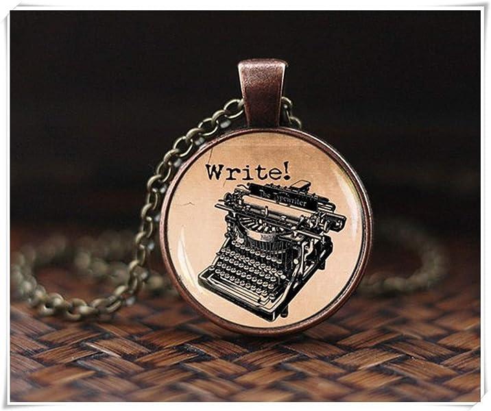Collar antiguo de máquina de escribir, colgante vintage de máquina de escribir, joyería antigua, collar de escritor, regalo para escritor, ...