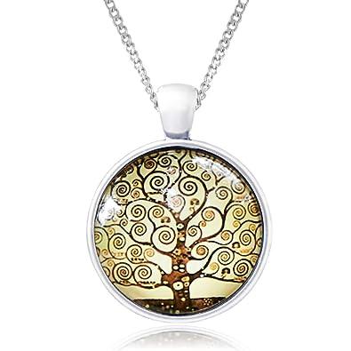 Lebensbaum Halskette im Opal Grün