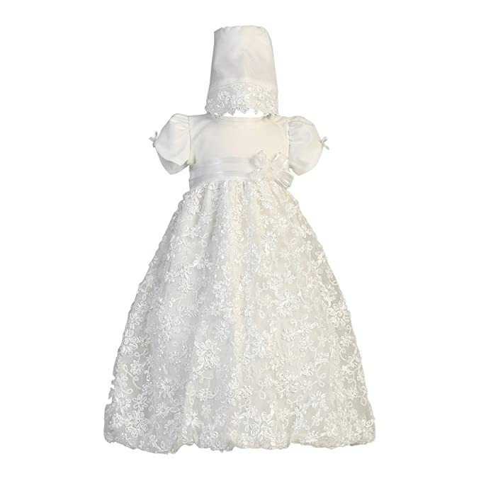 ee8f81a3dbd Image Unavailable. Image not available for. Color  Lito Baby Girls White  Embroidered Satin Ribbon Tulle Dress Bonnet Baptism ...