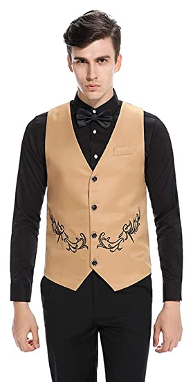 Hommes De Luxe Slim Brodé Gilet Tuxedos Revers Gilet Blazer