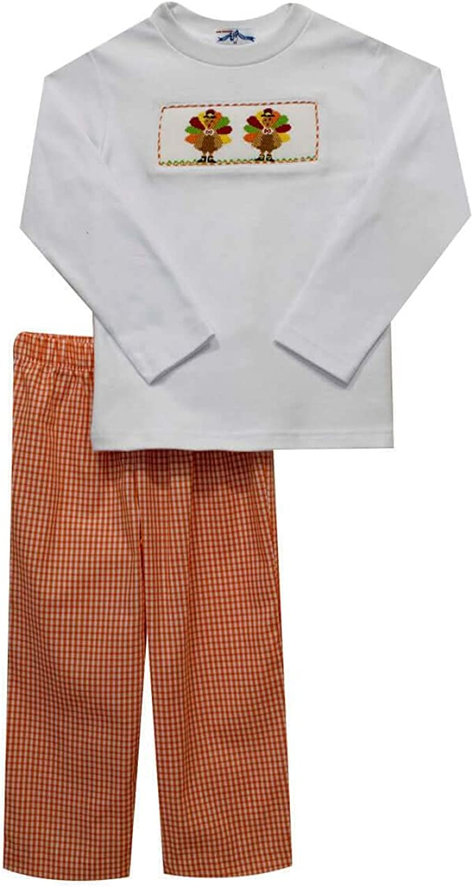 Boy's Smocked Santa Short or Long Sleeve Shirt /& Pants Set