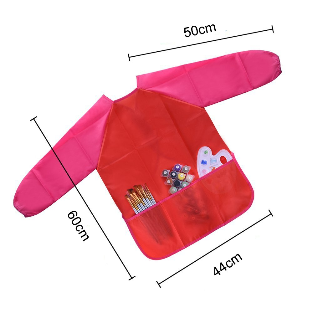f/ür Kinder von 3-8 Jahren lang/ärmelig TJW Kinder Kunstsch/ürze wasserfest mit 3 Taschen