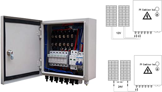 6 String PV Solar Panel Combiner Box 10A Circuit Breaker for Off Grid System Kit