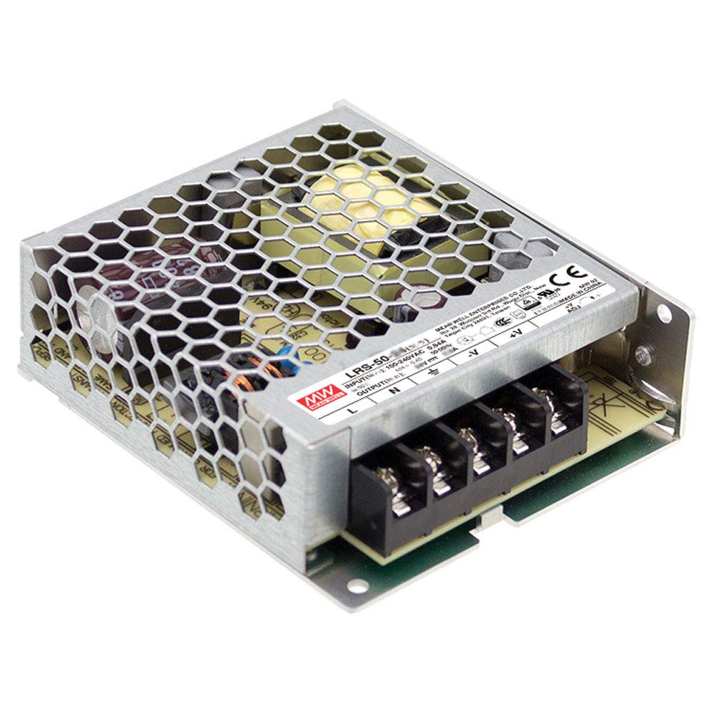 5V Mean Well LRS-50-5 Switching Power Supply 3.9 L x 3.23 W x 1.18 H Single Output 10A 50W