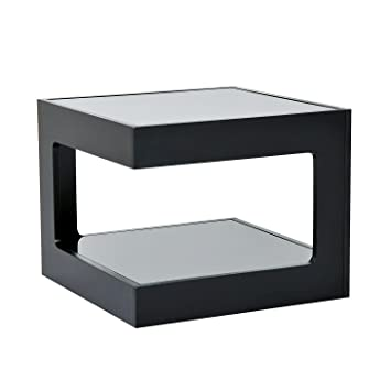 HomCom Modern Glass Top Cube End Accent Table   Black