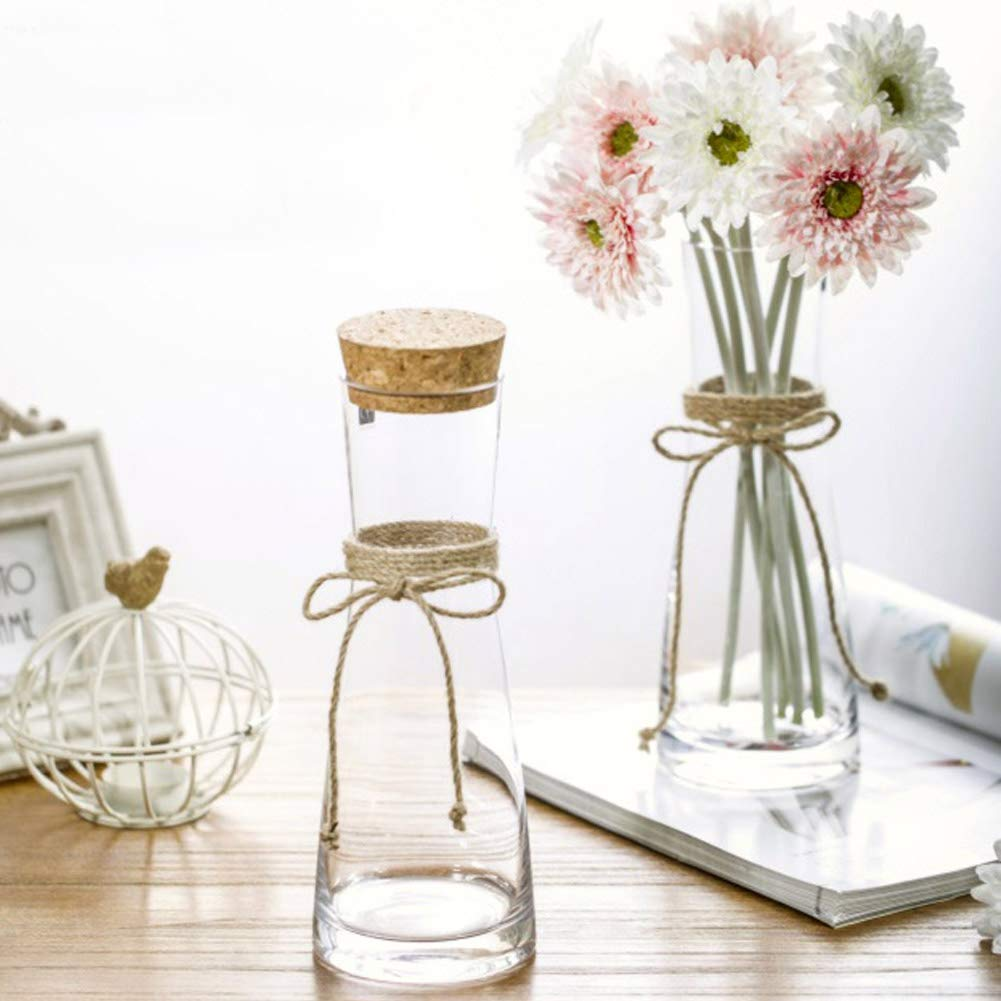 Tall Glass Vases, Decorative Flower Vases with Rope for Living Room, Kitchen, Table, Home, Office, Centerpiece, Wedding, Party or as a Gift