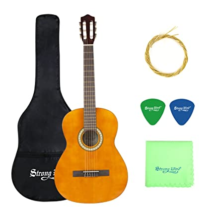 0a1d8fba3a Amazon.com: Classical Acoustic Guitar, Strong Wind 6 Nylon Strings Guitar  Beginner Kit Guitar Starter Pack for Students Children Adult (4/4 Size):  Musical ...