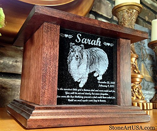 Pet-Cremation-Memorial-Urn-by-Eric--StoneArtUSA-Small-Dark-Wood-Granite-Stone-for-pets-up-to-48-lbs-Custom-Picture-Personalized-Engraved-Laser-Etched-Photo-Marker-Dog-Cat-Pet-Ashes