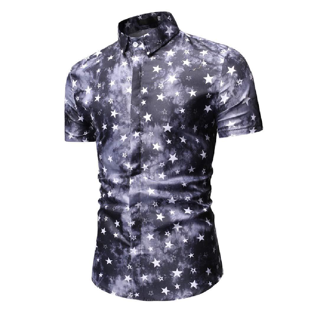 Mfasica Men Casual Summer Lucky Star Silm Fit Short Sleeve Longshirt