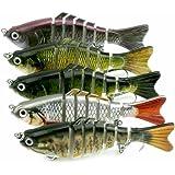 A-szcxtop Multi Jointed Fishing Lures Hard Baits Lifelike 7 Segments Swimbait Bass Crankbaits Perch Pike Walleye Trout Fishing Baits 5pcs