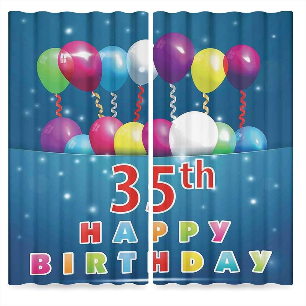 35th Birthday Decorations Window Blackout Curtains,Surprise Party for Thirty Five Year Old Flying Balloons Ribbons,for Living Room, 2 Panel Set, 28W X 39L Inches