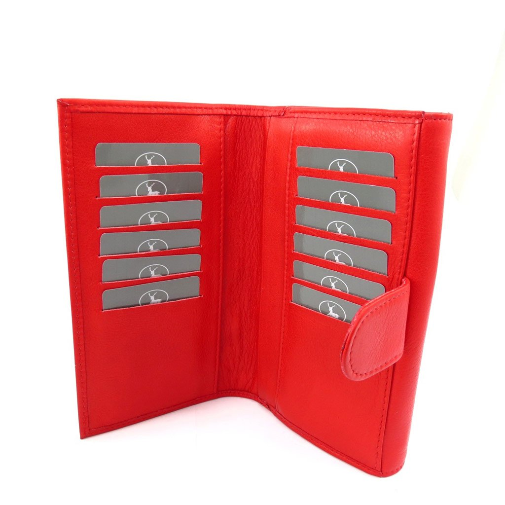 checkbook holder leather Frandi red. Wallet