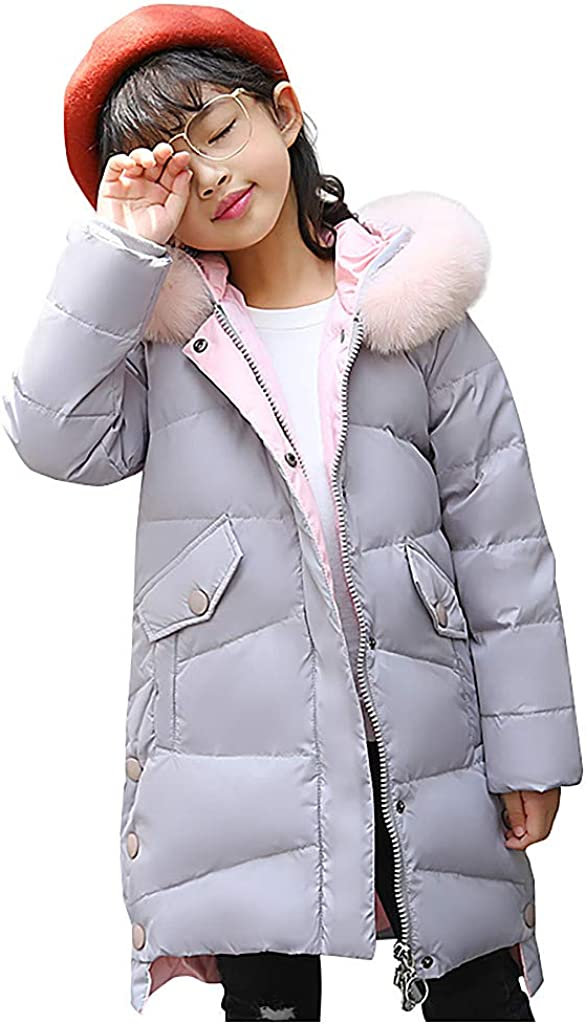 Baby Girls Winter Down Jacket Children Faux Fur Hooded Parka Coat Puffer Padded Thick Outwear Overcoat Snowsuit,SIN vimklo