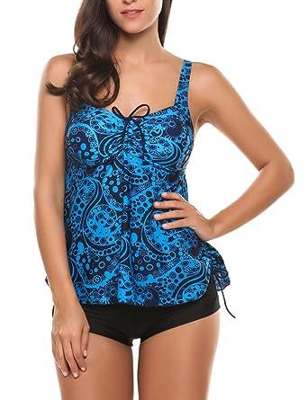 280171ad94f27 Qearal Women's Retro Print Two Piece Pin up Bathing Suits Tie Back Tankini  Top Swimwear Set