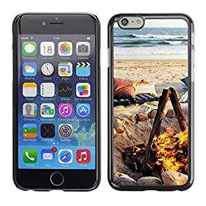 Cubierta de la caja de protección la piel dura para el Apple iPhone 6PLUS (5.5) - summer flame fire ocean beach