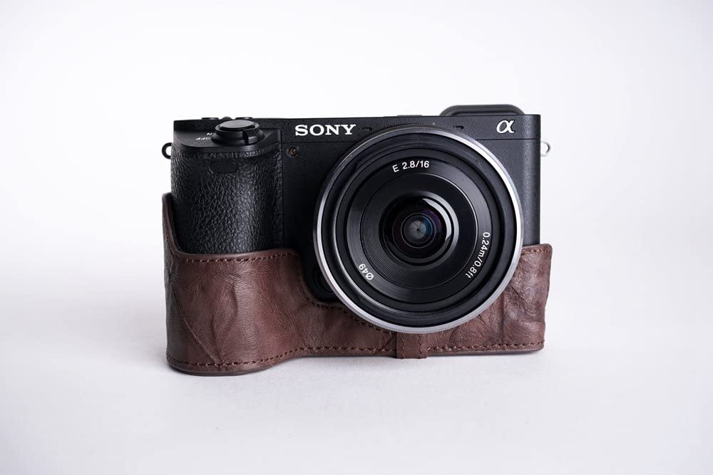 Coffee BolinUS Handmade Genuine Real Leather Half Camera Case Bag Cover for Sony Alpha a6500 Mirrorless with Bottom Opening Version A6500 Case