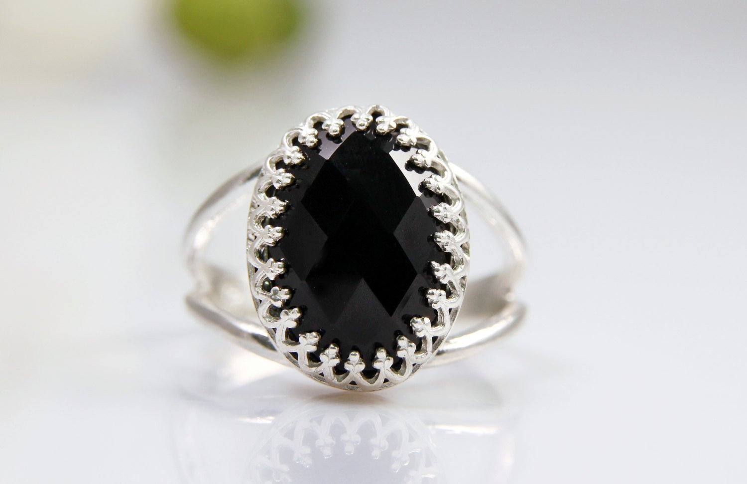 black onyx gemstone ring, silver ring, oval ring, black ring, black and silver jewelry, onyx ring, sterling silver ring