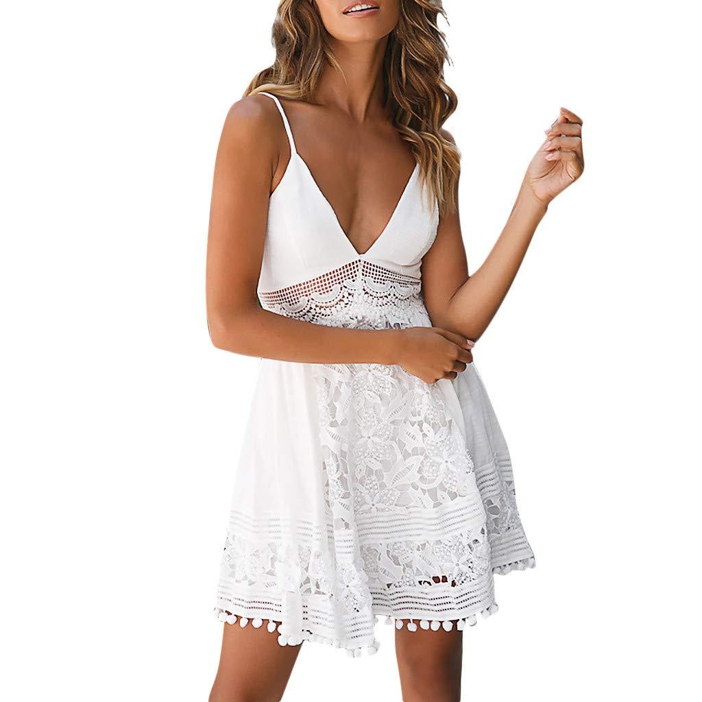 Sunday Damen Sommerkleid Kurze Strandkleid Spitzenkleid Elegant Kleid Ärmellos Spitzenkleid Party Kleid Rückenfrei Swing Kleid