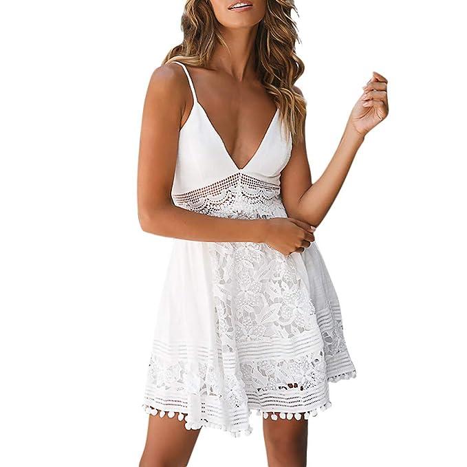 b1ffc2be48b88 Women Sleeveless Dresses Ladies Summer A-Line Mini Dresses V Neck Lace  Sundress for Beach