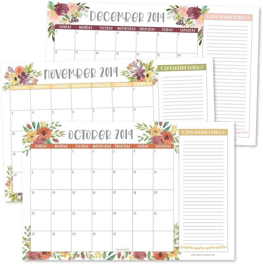 Floral 2019-2020 Large Monthly Desk or Wall Calendar Planner, Big Giant Planning Blotter Pad, 18 Month Academic Desktop, Hanging 2-Year Date Notepad Teacher, Mom Family Home Business Office 11x17""