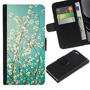 For Apple iPhone 5 / iPhone 5S,S-type® Sun Tree Apple Blossom Blue White - Dibujo PU billetera de cuero Funda Case Caso de la piel de la bolsa protectora