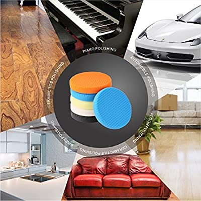 "SPTA 5Pcs 7""/180mm Compound Buffing Sponge Pads Polishing Pads Kit Buffing Pad For Car Buffer Polisher Sanding,Polishing, Waxing"