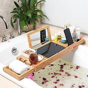 JinGarss Bamboo Bathtub Tray Caddy Bath Tub Tray Bridge Shower Shelves Organizer Tray 20-37 inch Expandable Rack Laptop Tray Caddy Bath Table with Wineglass Holder