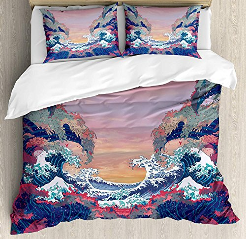 BedBed UP Modern 3 Pieces King Bedding Sets, Home Comforter Duvet Quilt Cover Sets, 2 Decorative Pillowcases, Bedspread for Childrens/Kids/Teens/Adults(Colorful Fantasy Sea Waves Ocean Modern Fictio)