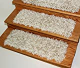 Dog Assist Shaggy Carpet Stair Treads - Off White (9'' x 27'') Set Of 13