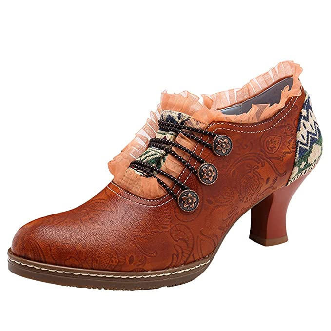 865360f1e5a7f Mordenmiss Women's Handmade Platform Boots Low Heel Ankle Lace Oxford Dress  Shoes