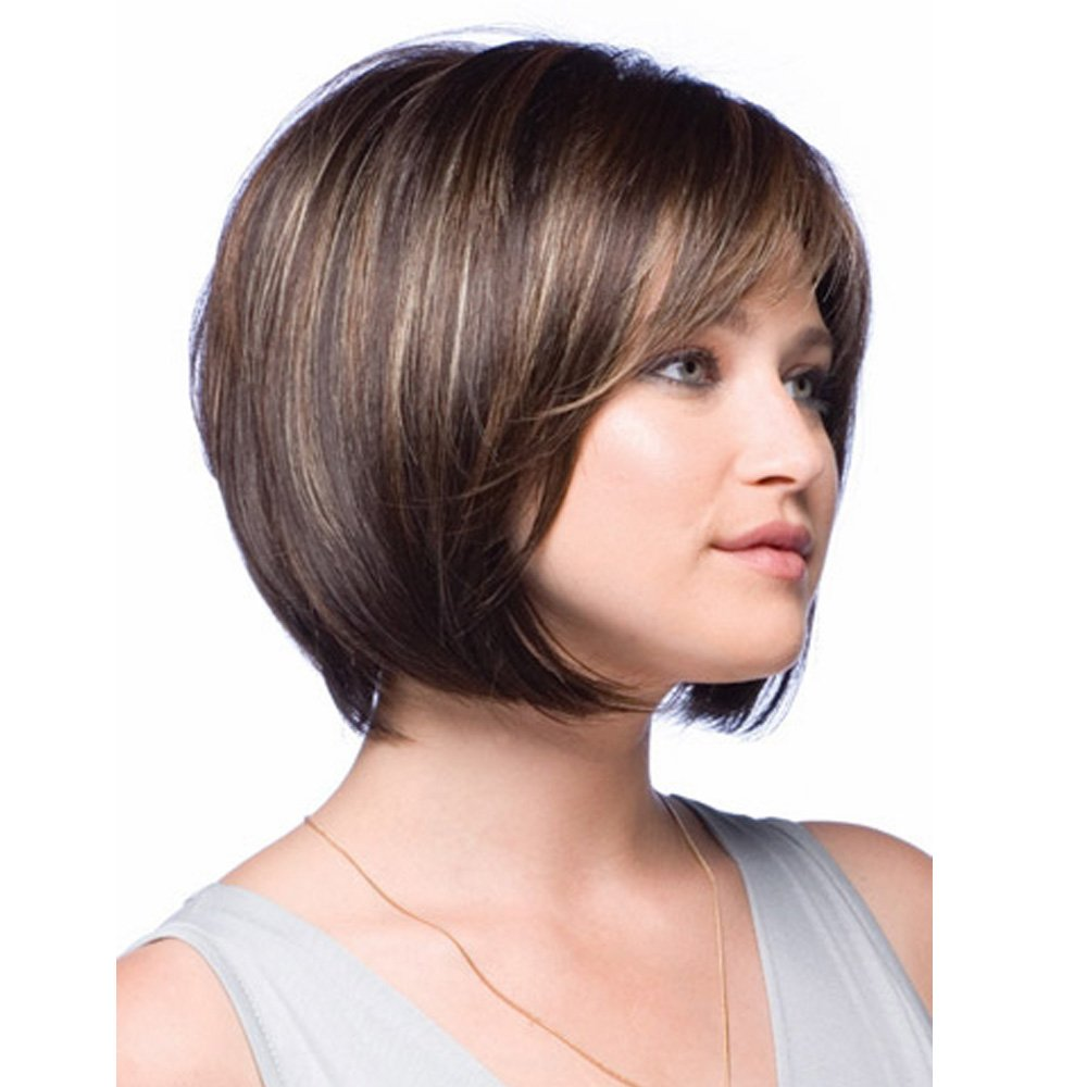 MILISI Short Bob Wig for White Women Mixed Dark Brown Heat Resistant Synthetic Hair Wig with Bangs + 1 Wig Cap