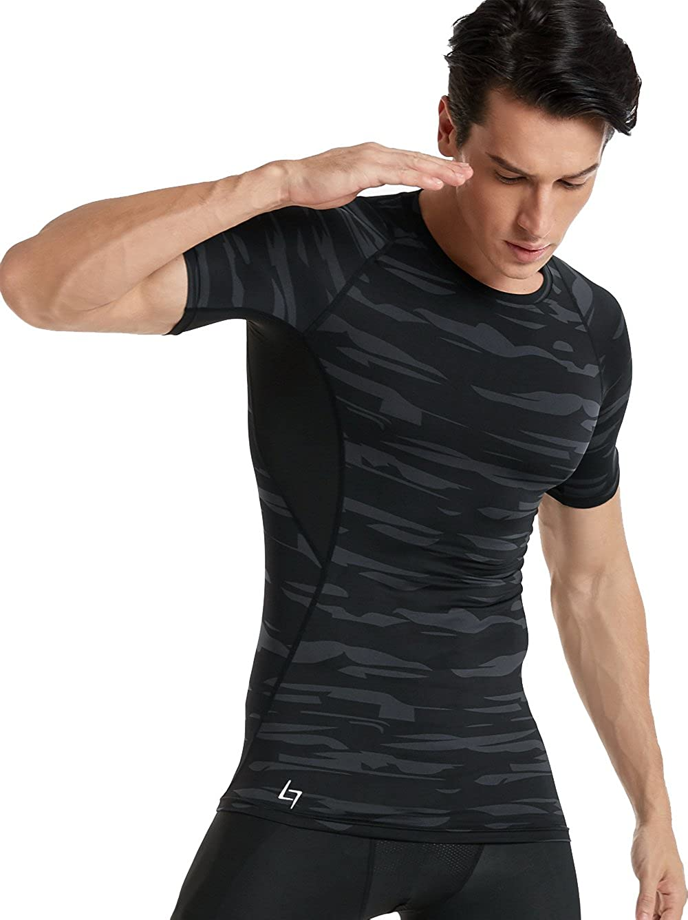 FITTIN Mens Athletic Compression Under Base Layer Sport Shirt for Sport Running Basketball Football