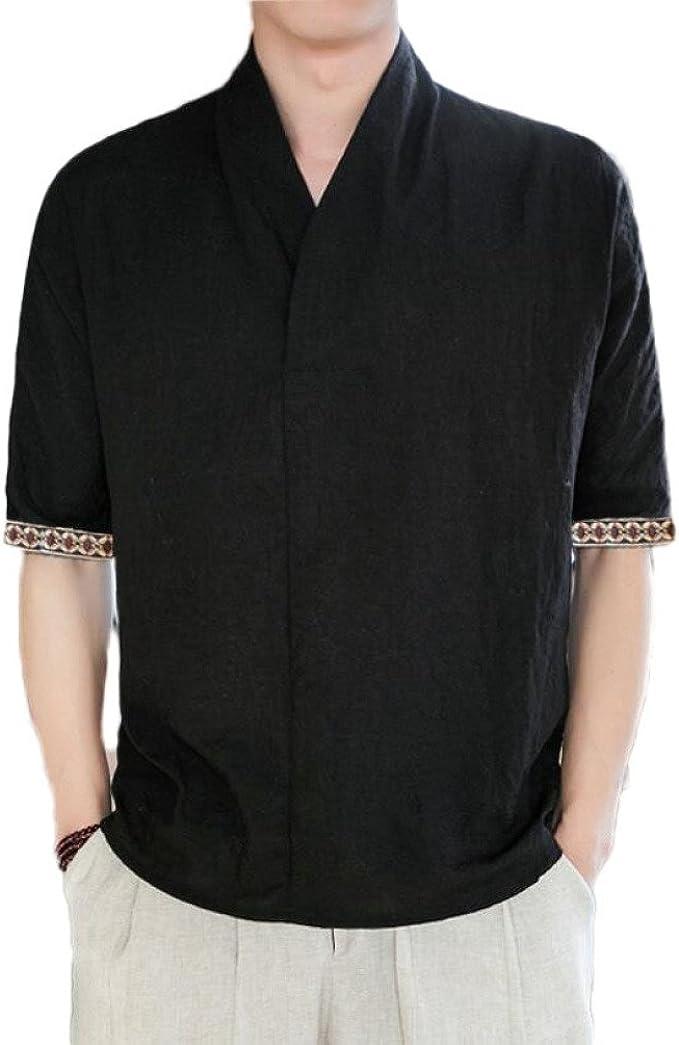 Camiseta De Algodón Y Lino para Hombre De Estilo Chino Camisa ...