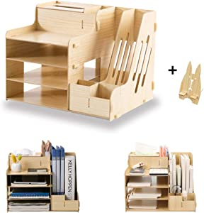 SUPANT Office Desk Organizer Set & Accessories, Multi-Functional DIY Pen Holder Box for Kid Men Women, Desktop Stationary, Paper Filer Trays Organization, Home Office Supply Storage Rack