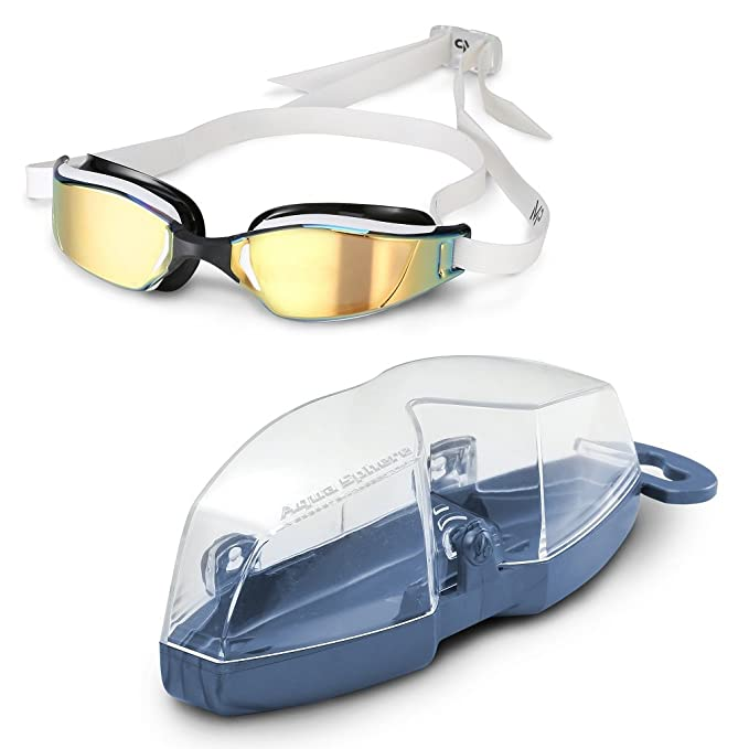 e7d6d95f7b Amazon.com   Michael Phelps Xceed Titanium Mirror Swimming Goggles -  White Black - Titanium Gold Mirror   Sports   Outdoors