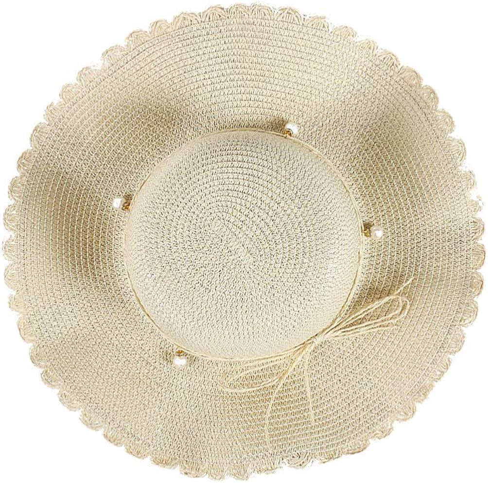 TENDYCOCO Cappello da Sole per Donna Cappello di Paglia Cappello da Spiaggia a Tesa Larga con Fiocco Cappello Intrecciato con Perle