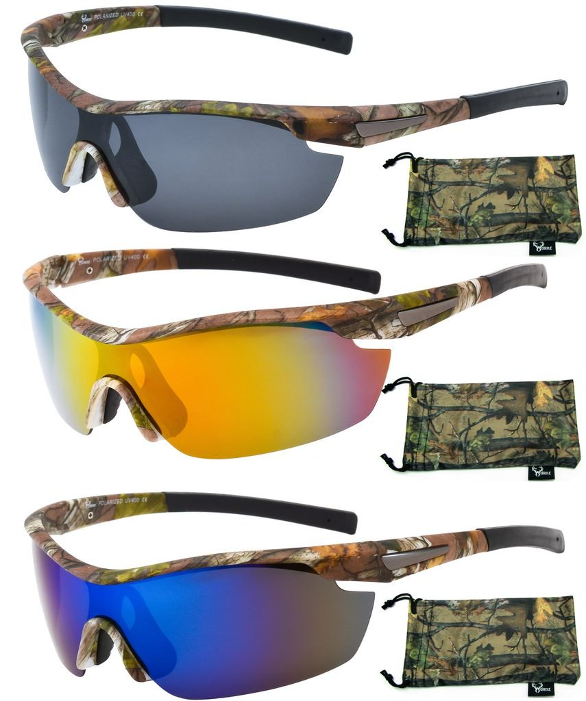 Hornz Brown Forrest Camouflage Polarized Sunglasses for Men Wrap Around Sport Frame & Free Matching Microfiber Pouch - 3 Pack Brown Camo Frame - Smoke Lens, Orange Lens, Blue Lens