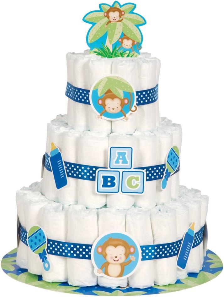 Boy Monkey Baby Shower Nappy Cake Kit Unique Party 49749 Set of 25