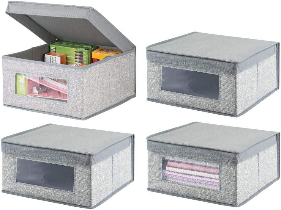 gris Cajas organizadoras para l/ápices mDesign Organizadores de oficina y escritorio Caja para organizar con ventana transparente y mucho espacio de guardado anotadores y otros art/ículos