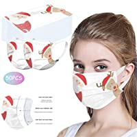 50pcs Disposable Printed Face Macks for Men Women Adults, 3-Ply with Elastic Earloops, Breathable Non-woven Anti-Fog (B)