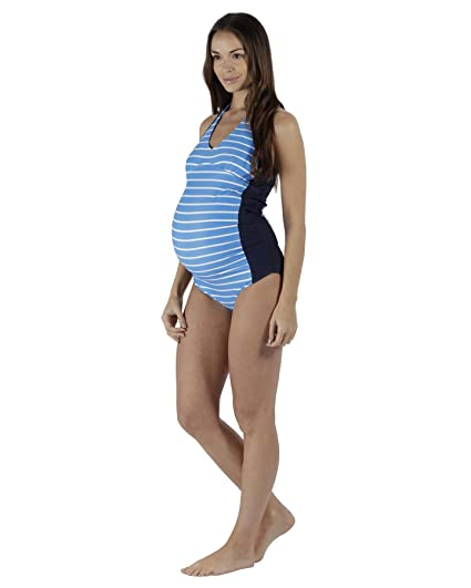 6db8b23fb7e6b The Essential One - Womens Maternity Nautical Swimsuit - Blue/White - 6 -  EOM210