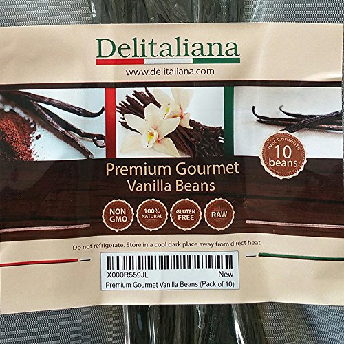 Tahitian Extract Vanilla Fold - Delitaliana Premium Gourmet Vanilla Beans, Approximately 5~6 Inches (Pack of 10)