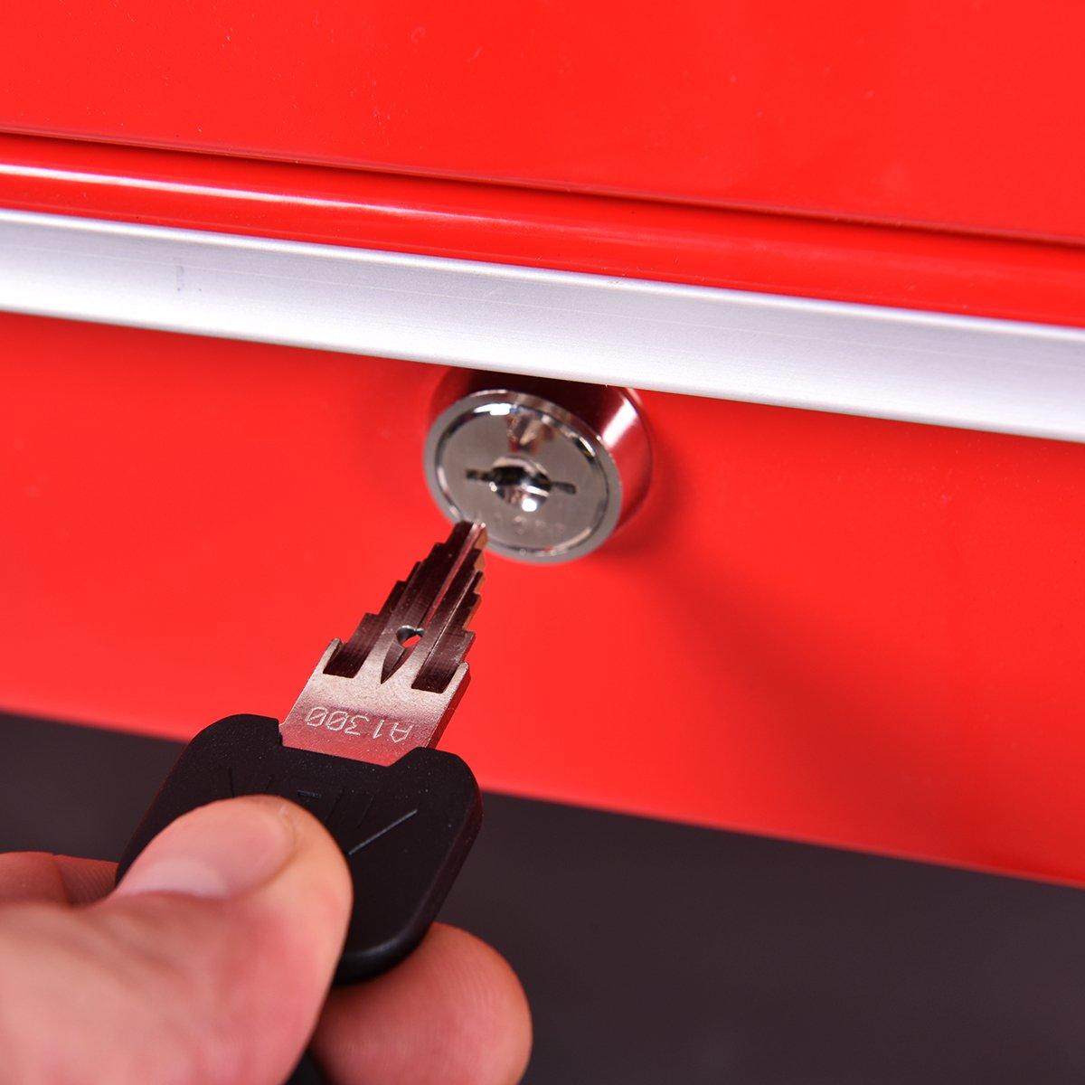 Goplus Tool Cart Rolling 36-Inch Steel Tool Chest Box Wheels Trays w/ Locking Drawer, Red by Goplus (Image #3)