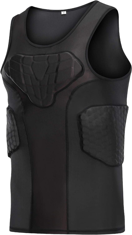 DGXINJUN Men's Padded Compression Shirt Training Vest (4-Pad) Sleeveless T-Shirt Ribs, Back Protector Tank- Football Soccer Basketball Hockey Protective Gear : Sports & Outdoors