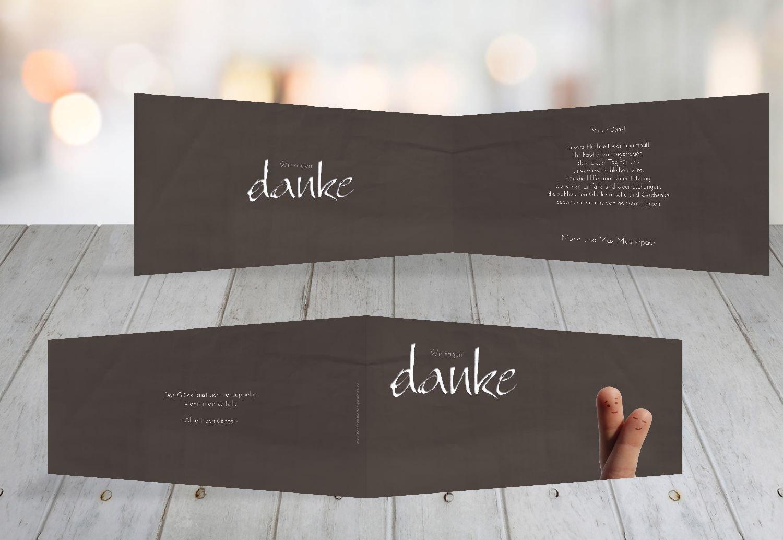 Kartenparadies Danksagung für Hochzeitsgeschenke Hochzeit Dankeskarte Fingerpaar 2, hochwertige Danksagungskarte Hochzeitsglückwünsche inklusive Umschläge   100 Karten - (Format  215x105 mm) Farbe  Hellbraun B01N13BX6K | Abgabepreis