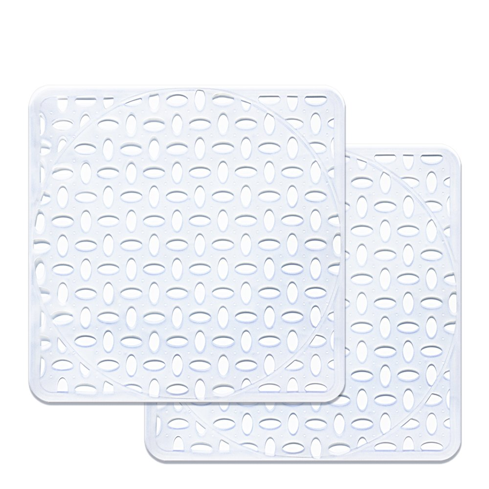 Sink Mat, BliGli Eco-friendly Kitchen Sink Protector, Made of Durable PVC Plastic, Good Protection for Stainless Steel sink, Dinnerware, Square,11.8 x 11.8In, Frosted Clear (2Pack)