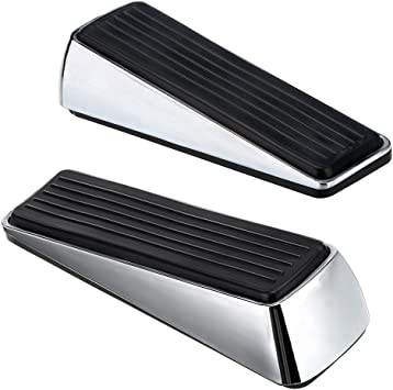 2 Stainless Steel and Rubber Heavy Duty Door Stop Avoid Drilling Holes,Contemporary Safety Door Wedge on All Floor Surfaces for Home Office Commercial Industrial Sumnacon Floor Door Stopper