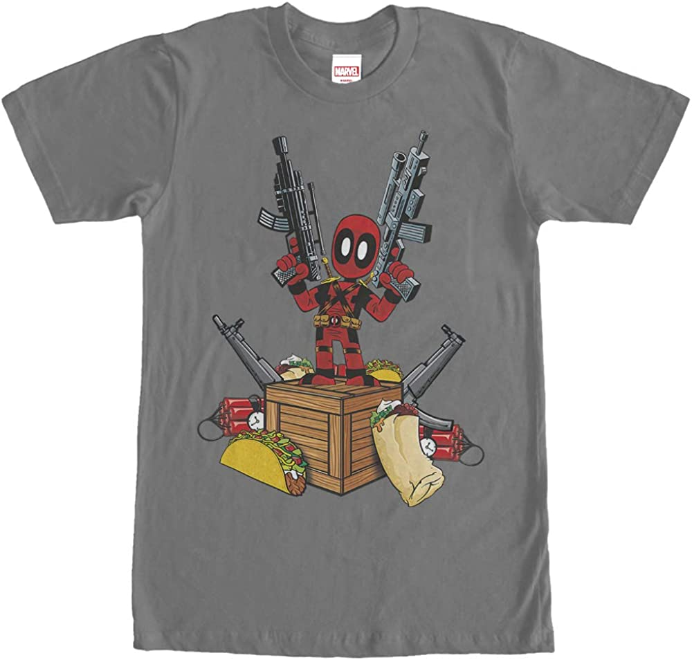 Men's Marvel Deadpool Weapons and Food T-Shirt - Charcoal - 2X Large